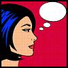 Komiks kobieta pop art think bańki   Stock Vector Graphics