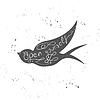 Motivations-Poster Typografie mit fliegenden Schwalbe