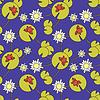 nahtlose Muster mit Fröschen und Wasserlilien