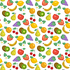 Seamless pattern with apples, strawberries, | Stock Vector Graphics