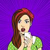 Pop-Art überrascht Frau Gesicht mit offenem Mund Holdin