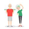 aktiv, glücklich und gesund ältere Paare: Cartoon-Mann