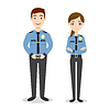 characters: two young happy police officers, man an