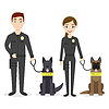 characters: two young police officers man and