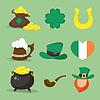 Reihe von Icons für St.Patrick`s Tag design.Four-Blatt