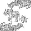 Monochromatyczny zentagle o elephan   Stock Vector Graphics