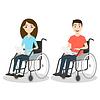 zwei junge Mann und Frau im Rollstuhl hol