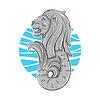 Singapur Symbol Löwe mit Fischschwanz