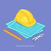 Vektor Cliparts: Isometrische 3D-Konzept der Engineering-Projekt