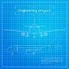 Vektor Cliparts: Ebene. Ingenieurflugzeug Bauplan bac