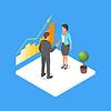 Vektor Cliparts: isometrische 3D-zwei Geschäftsleute d machen
