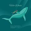 Vektor Cliparts: Die isometrische 3D-Taucher und Unterwasser-Wal