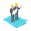 Vektor Cliparts: Isometrische 3D-Konzept der Geschäftsmann oder Ingenieur in