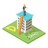 Vektor Cliparts: isometrische 3D-Stadtgebäude mit Bauplan