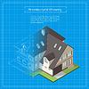 Vektor Cliparts: isometrische 3D-Stadtgebäude Bauplan