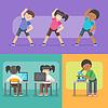 Vektor Cliparts: Aktivitäten für Kinder in der Schule