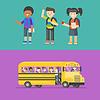 Vektor Cliparts: Kinder in der Schule und in Bus