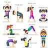 Vektor Cliparts: niedliche Mädchen in Yoga-Pose