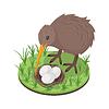 Vektor Cliparts: Isometrische 3D-Kiwi-Vogel in der Nähe von Nest