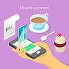 Vektor Cliparts: isometrische 3D-Konzept für mobile Online-Zahlung