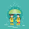 Vektor Cliparts: lächelnde Kinder zur Schule in der regen gehen