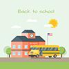 Vektor Cliparts: Schulgebäude und Bus