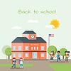 Vektor Cliparts: Schulgebäude und Kinder