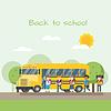 Vektor Cliparts: Schulbus und Kinder