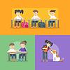 Vektor Cliparts: Kinder in der Schule. Zurück zu Schulkonzept