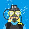 Vektor Cliparts: skuba Taucher Video Unterwasseraufnahmen