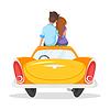 Cartoon-Stil liebende Paar auf th Sitzung