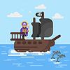flach Stil Piratenschiff mit Delfinen