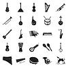 Коллекция черных музыкальных инструментов | Векторный клипарт