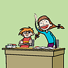 Schüler und Schülerin im Klassenzimmer