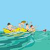 glückliche Menschen Spaß auf dem Bananenboot mit