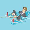 Existenzgründungskonzept. Geschäftsmann in Wasser