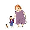 Vektor Cliparts: Großmutter, Enkel und Hund zu Fuß