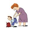 Vektor Cliparts: Oma oder Kindermädchen begleitet ihren Enkel zur Schule