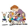 Vektor Cliparts: Kinder und Kindermädchen oder Lehrer