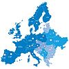 Europäische Karte mit den Regionen