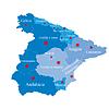 Karte von Spanien auf die Bereiche