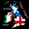 Großbritannien Karte für jedes Land Flagge