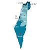 Israel Karte mit den Regionen