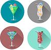 Alkoholgetränke und Cocktails Icon-Set
