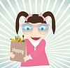 Векторный клипарт: Девушка с покупками в магазине