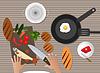 Векторный клипарт: Кухня столешницы с различными объектами