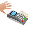 Vektor Cliparts: Hand nimmt Scheck nach Kreditkartenzahlung