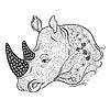 Rhinoceros Kopf doodle