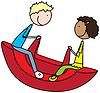 Vektor Cliparts: Glückliche Kinder spielen