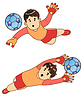Vektor Cliparts: Der Junge als der Torwart 2